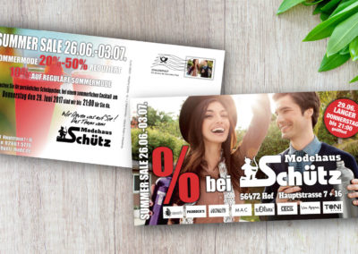 Printdesign Modehaus Schütz Maxikarte