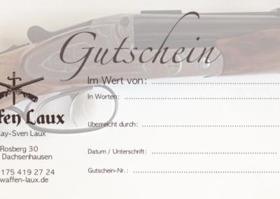 Printdesign WaffenLaux Geschenkgutschein