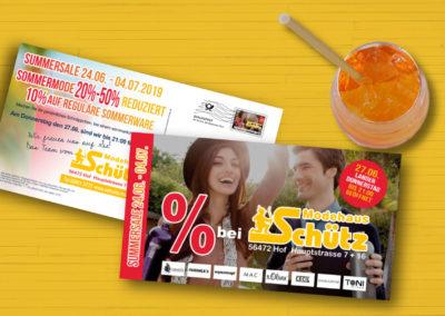 Modehaus Schütz Maxikarte Mailing Summersale